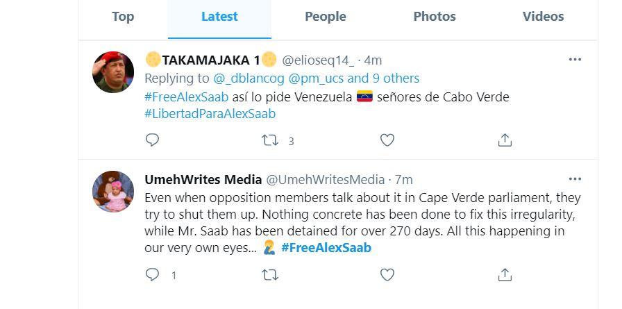 Twitter por la liberación de Alex Saab - Primer Informe