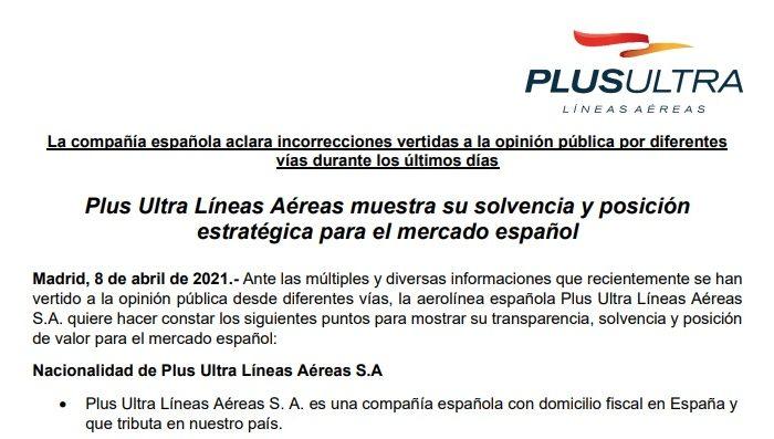 Aerolínea Plus Ultra se defiende: somos estratégicos para España